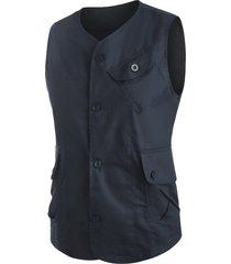 plain button up flap pockets fisher vest