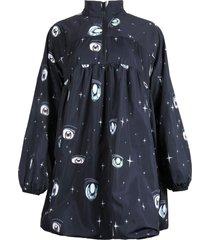 women's sandy liang switch eye print dress, size 8 - blue
