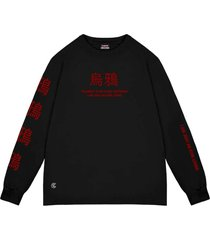 camiseta cuervo icon - longa preto/vermelho - multicolorido - dafiti