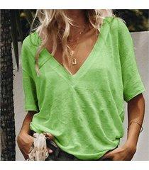 s-5xl verano sólido t shirt ladies sexy cuello en v camiseta de-verde
