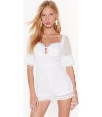 womens frill got time cupped romper - white
