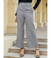 yoins bolsillos laterales a cuadros grises pierna ancha pantalones