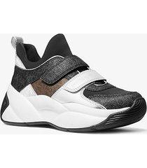 mk sneaker keeley in materiale misto color block con logo - combo nero (nero) - michael kors