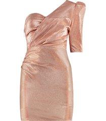 elisabetta franchi lurex one shoulder dress