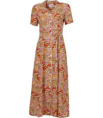 long maria belted button down pajama dress