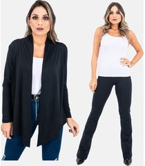 kit 2 pças : 1 cardigan kimono e 1 calça legging flare plus size juquitiba brasil preto