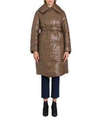burberry monogram-print down trench coat
