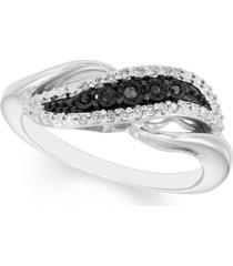 black & white diamond swirl ring (1/10 ct. t.w.) in sterling silver