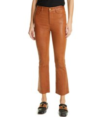 women's frame le crop mini boot leather pants, size 32 - brown