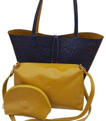 bolso fe style creative reversible para dama - azul turqui con mostaza
