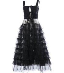 philosophy di lorenzo serafini flared lace detail dress