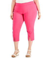 jm collection plus size solid split-hem pull-on capri pants, created for macy's