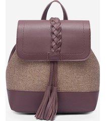 tassel braided two tone travel backpack