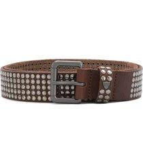 htc los angeles studded buckled belt - brown