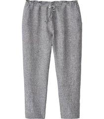 lichte 7/8-broek van linnen, grijs-gemêleerd 46
