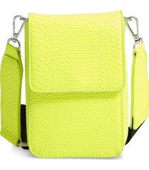 bp. faux leather nylon strap crossbody bag - yellow