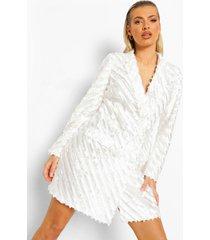 getailleerde blazer jurk met textuur, ivory