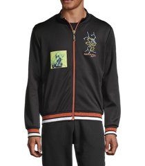 roberto cavalli sport men's striped & patchwork track jacket - black - size xxxl