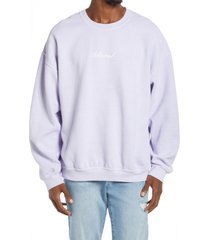 men's topman hollywood graphic crewneck sweatshirt, size small - purple