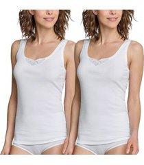 schiesser 2 stuks essentials cotton strap tops embroidery * gratis verzending *