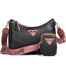 bolsa feminina casual zariff em couro legítimo com acessório