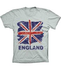 camiseta baby look lu geek england flag prata - prata - feminino - dafiti