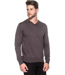 suéter masculino passion tricot ffo cinza escuro