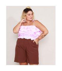 top cropped de algodão listrado plus size com babados alça laço decote reto rosa