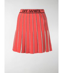off-white logo-printed pleated skirt