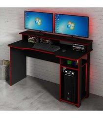 mesa gamer ideal para 2 monitores preto/vermelho me4153 - tecno mobili