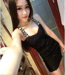 pf271 sexy low bust halter dress with rhinestones , size s-l, black