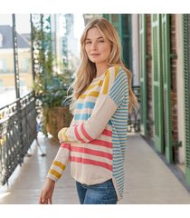 stripe story pullover
