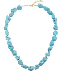 beach cocktail turquoise 18k gold-plated necklace