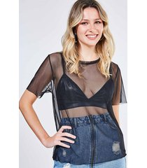 blusa alongada tule com top