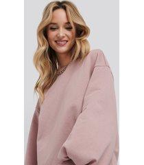 na-kd trend puff sleeve sweatshirt dress - pink