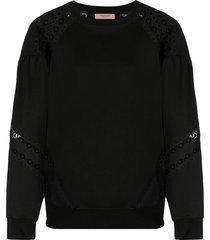 twinset lace panel sweatshirt - black