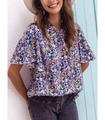 camicetta donna allentata manica corta con scollo a stampa floreale