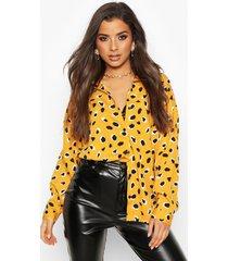 woven animal print shirt, mustard