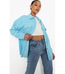 oversized blouse met corduroy zakken, blue