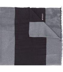 emporio armani panelled logo scarf - black