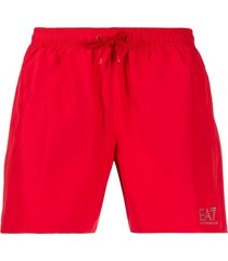 ea7 emporio armani drawstring swim shorts - red