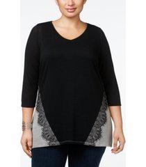 belldini plus size lace-applique colorblock tunic top