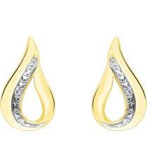 orecchini a lobo in oro giallo con diamanti 0,014 ct forma goccia per donna