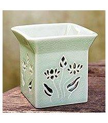 ceramic clay oil warmer, 'lotus garden' (thailand)