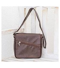 faux leather messenger bag, 'mahogany voyage' (costa rica)