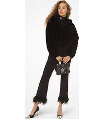 mk giacca con cappuccio reversibile in pelliccia sintetica - nero (nero) - michael kors