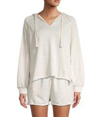 allison new york women's high-low hoodie - oatmeal - size l