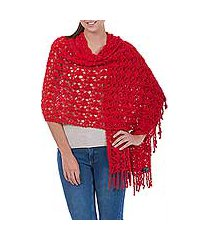 100% alpaca shawl, 'cuzco ruby' (peru)