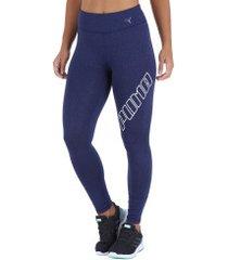 calça legging puma yogini logo - feminina - azul escuro