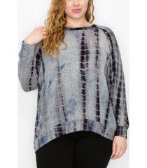 plus size cozy tie dye raglan sweatshirt